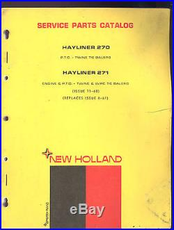 1968 NEW HOLLAND 270 & 271 TWINE & TIE BALER PARTS MANUAL