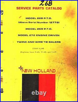 NEW HOLLAND 268, 269 and 272 BALERS PARTS MANUAL (See Picture for more info.)