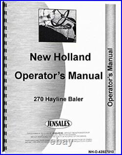 NEW HOLLAND 270 BALER OPERATORS MANUAL By New Holland Manuals BRAND NEW