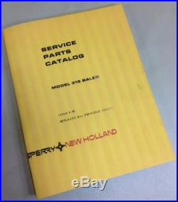 NEW HOLLAND SPERRY MODEL 315 SMALL SQUARE BALER PARTS CATALOG MANUAL ISSUE 5-81