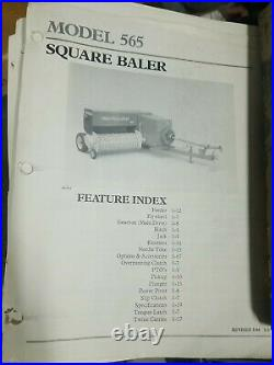 New Holland 565 570 575 580 Square Baler Feature Index Service Manual 86601810
