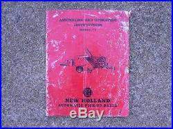 New Holland Automatic Pick Up Baler Model 77 Assembly/Operating Owners Manual