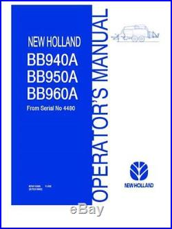 New Holland Bb940a Bb950a Bb960a Baler From Sn #4480 Operator`s Manual