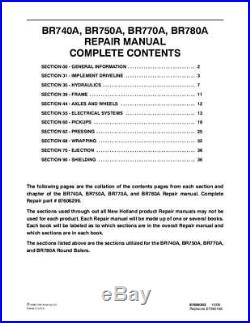 New Holland Br740a Br750a Br770a Br780a Round Baler Complete Service Manual