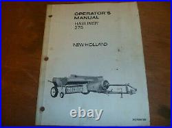 New Holland Hayliner 275 Small Square Baler Owner Operator Manual
