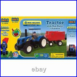 New Holland Tractor With Farmer & Hay Baler 126 Pc Block Set IMX39606