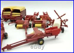 New Holland VINTAGE ERTL 1/64 TRACTOR IMPLEMENTS FARM RED DIECAST Lot of 12