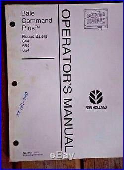 New holland Bale Command Plus Round Balers 644 654 664 Operator's Manual 4237260